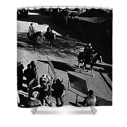 Shower Curtain featuring the photograph Johnny Cash Riding Horse Filming Promo Main Street Old Tucson Arizona 1971 by David Lee Guss