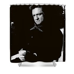 Shower Curtain featuring the photograph Johnny Cash Sitting With Cup  Old Tucson Arizona 1971-2009 by David Lee Guss
