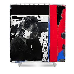 Shower Curtain featuring the photograph Johnny Cash  Smiling Collage 1971-2008 by David Lee Guss