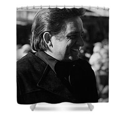 Shower Curtain featuring the photograph Johnny Cash Smiling Old Tucson Arizona 1971 by David Lee Guss