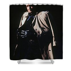 Shower Curtain featuring the photograph Johnny Cash Trench Coat Old Tucson Arizona 1971 by David Lee Guss