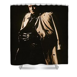 Shower Curtain featuring the photograph Johnny Cash Trench Coat Variation  Old Tucson Arizona 1971 by David Lee Guss
