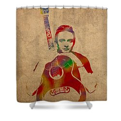 Johnny Cash Watercolor Portrait On Worn Distressed Canvas Shower Curtain by Design Turnpike