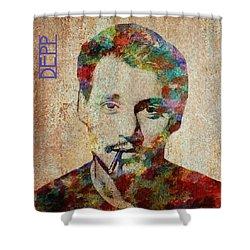 Johnny Depp Watercolor Splashes Shower Curtain