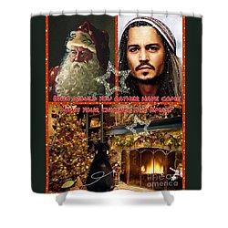 Johnny Depp Xmas Greeting Shower Curtain
