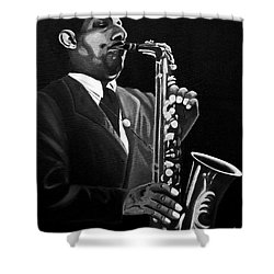 Johnny Hodges Shower Curtain by Barbara McMahon