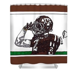 Johnny Manziel The Salute Shower Curtain by Jeremiah Colley