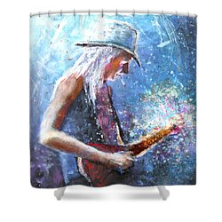 Johnny Winter Shower Curtain by Miki De Goodaboom