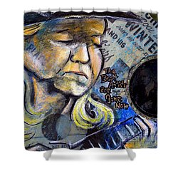 Johnny Winter Painted Guitar Shower Curtain