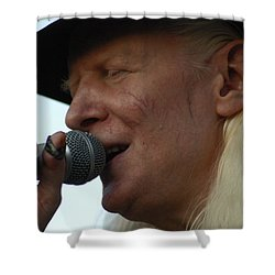 Shower Curtain featuring the photograph Johnny Winter Sings by Mike Martin