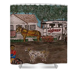 Shower Curtain featuring the painting Johnsons Milk Wagon Pulled By A Horse  by Kathy Marrs Chandler