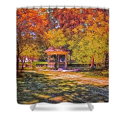 Join Me In The Gazebo On This Beautiful Autumn Day Shower Curtain by Thomas Woolworth