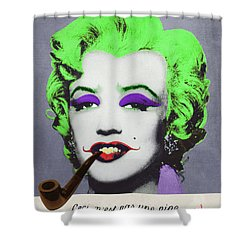 Joker Marilyn With Surreal Pipe Shower Curtain by Filippo B