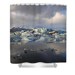 Jokulsarlon Glacier Lagoon Panorama Shower Curtain