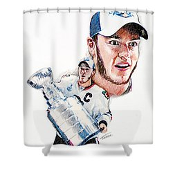 Jonathan Toews - The Season Shower Curtain by Jerry Tibstra