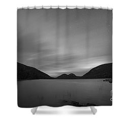 Jordan Pond Blue Hour Bw Shower Curtain
