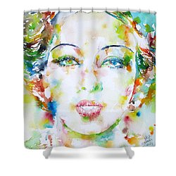 Josephine Baker - Watercolor Portrait Shower Curtain by Fabrizio Cassetta