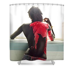 Shower Curtain featuring the photograph Josephine Red by Rebecca Harman