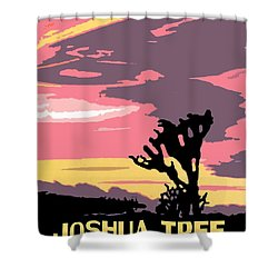 Joshua Tree National Park Vintage Poster Shower Curtain by Eric Glaser