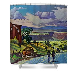 Shower Curtain featuring the painting Journey Along The Road To Infinity by Art James West
