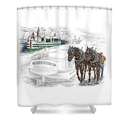 Journeys On The Canal - Canal Boat Print Color Tinted Shower Curtain