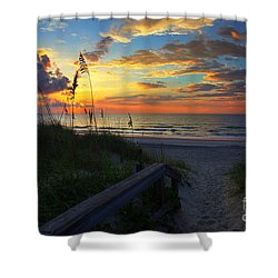 Joy Comes In The Morning Sunrise Carolina Beach Nc Shower Curtain by Wayne Moran