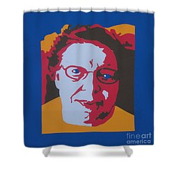 Shower Curtain featuring the drawing Joyce's Portrait by PainterArtist FINs husband Maestro