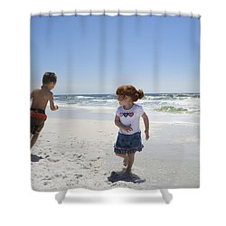 Joyful Play Of Children Shower Curtain by Charles Beeler
