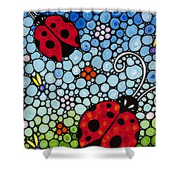 Joyous Ladies Ladybugs Shower Curtain by Sharon Cummings
