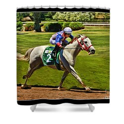 Juan Sanchez On Horse Sammy V  Shower Curtain by Blake Richards