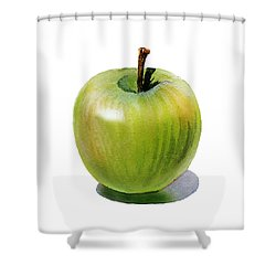 Shower Curtain featuring the painting Juicy Green Apple by Irina Sztukowski
