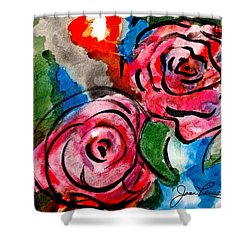 Juicy Red Roses Shower Curtain by Joan Reese