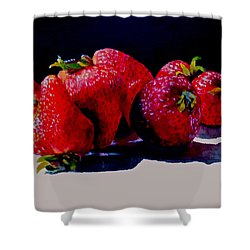 Shower Curtain featuring the painting Juicy Strawberries by Sher Nasser