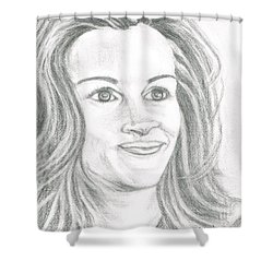 Shower Curtain featuring the drawing Julia Roberts by Teresa White