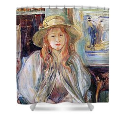 Julie Manet With A Straw Hat Shower Curtain by Berthe Morisot