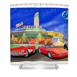 Julies Corvettes Shower Curtain by Jack Pumphrey