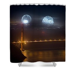 July Fourth Over The Bay Shower Curtain by Daniel Furon