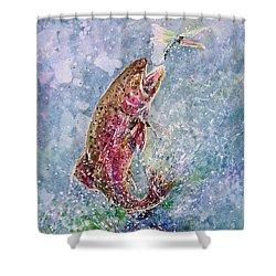 Jump Shower Curtain by Zaira Dzhaubaeva