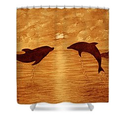 Jumping Dolphins At Sunset Shower Curtain by Georgeta  Blanaru