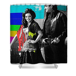 June Carter Cash Johnny Cash In Costume Old Tucson Az 1971-2008 Shower Curtain by David Lee Guss
