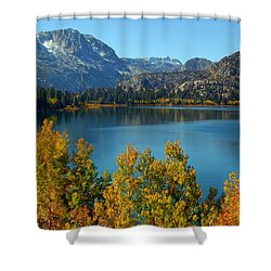 June Lake Blues And Golds Shower Curtain by Lynn Bauer