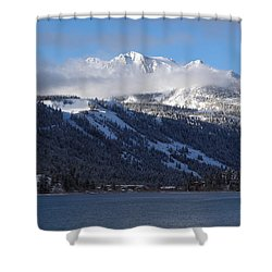 June Lake Winter Shower Curtain by Duncan Selby