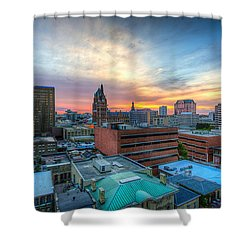 Juneau Town Sunset Shower Curtain by Andrew Slater