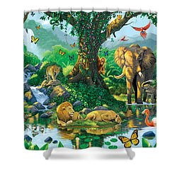 Jungle Harmony Shower Curtain by Chris Heitt