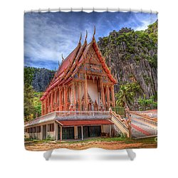 Jungle Temple V2 Shower Curtain by Adrian Evans