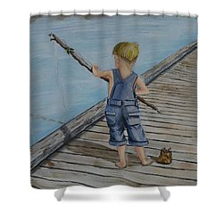 Juniors Amazing Fishing Pole Shower Curtain by Kelly Mills