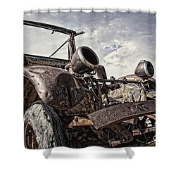 Junk Yard Sentinel Stands  Shower Curtain by Lee Craig