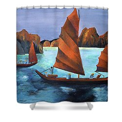 Shower Curtain featuring the painting Junks In The Descending Dragon Bay by Tracey Harrington-Simpson