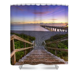 Juno Beach   Shower Curtain by Debra and Dave Vanderlaan
