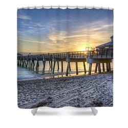 Juno Beach Pier At Dawn Shower Curtain by Debra and Dave Vanderlaan